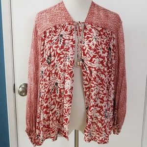 Free People Red White and Navy Blouse